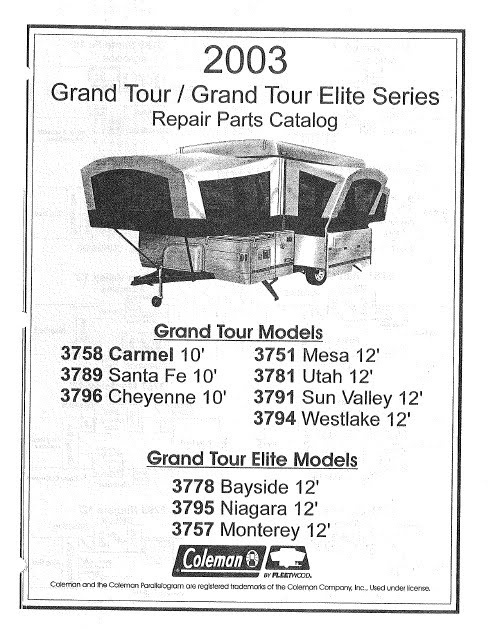 2003 Grand Tour?height=320&width=247 2003 coleman popup camper repair parts manuals camper solutions Fleetwood RV Electrical Wiring Diagram at mifinder.co